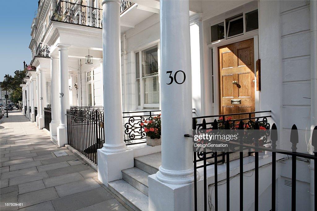 White Edwardian Houses, West London : Stock Photo