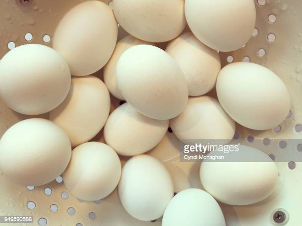 white eggs in a colander - hard boiled eggs stock photos and pictures