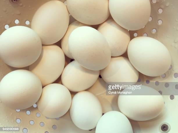 White Eggs in a Colander