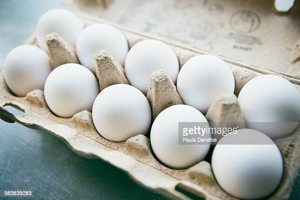 White eggs in cardboard box