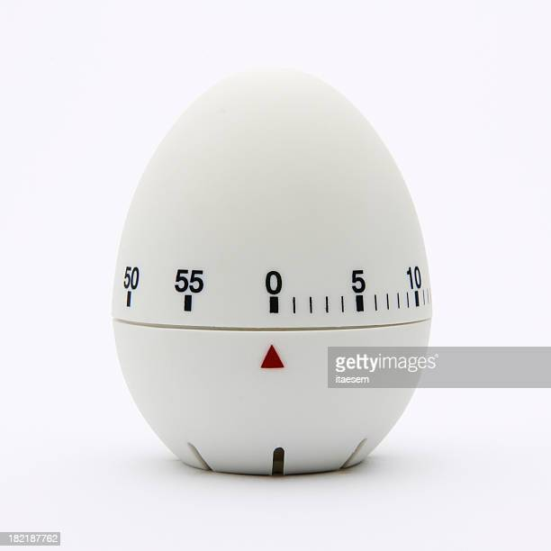 White egg-shaped kitchen timer isolated on white background
