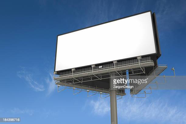 White empty billboard on a large pole