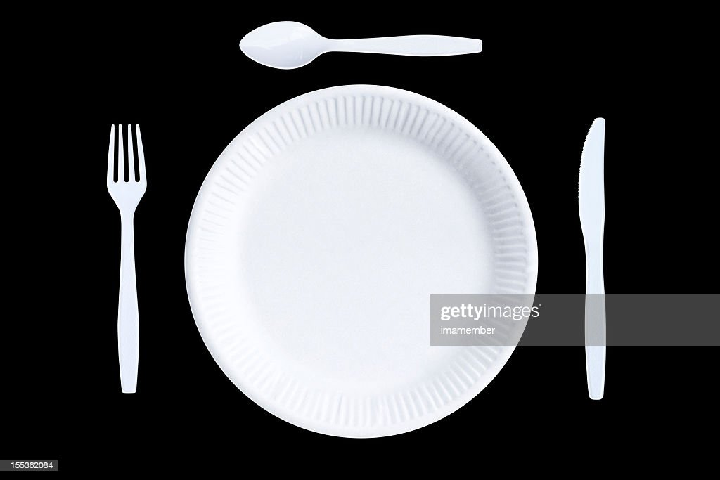 White empty paper plate and white plastic cutlery black background  Stock Photo  sc 1 st  Getty Images & White Empty Paper Plate And White Plastic Cutlery Black Background ...