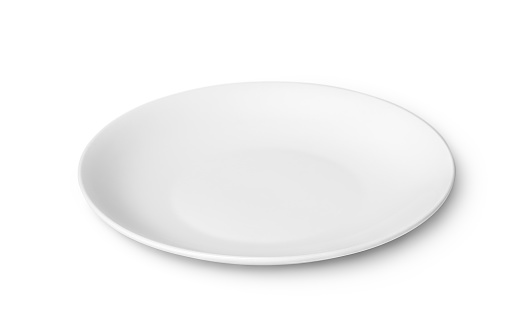 White empty plate isolated on white background 496704108