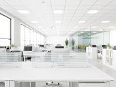 White empty surface and office building as background