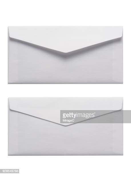 white envelope on white background - bericht stockfoto's en -beelden