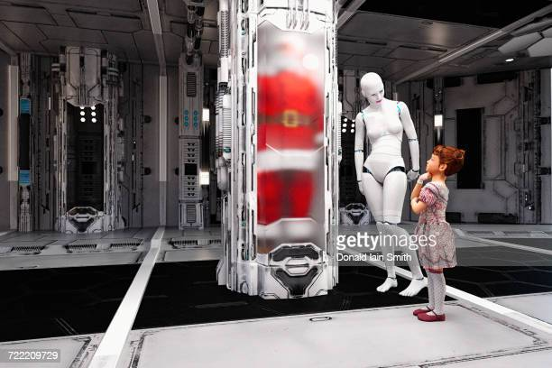 White female cyborg and girl watching Santa in cylinder
