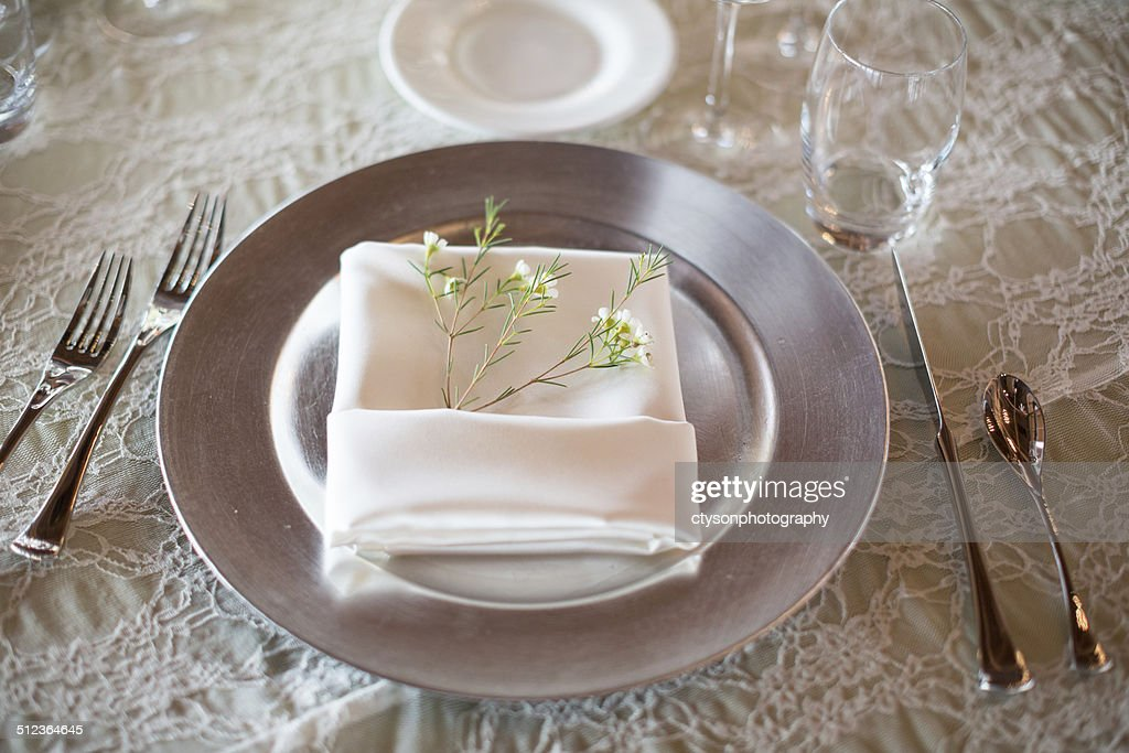 White Fine Dining Serving Set, Place Setting With Wine, Silverware : Stock  Photo