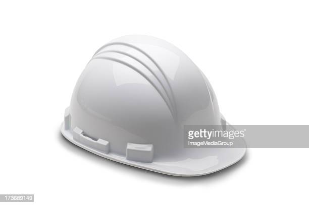 A white fire man's hard hat on a white background