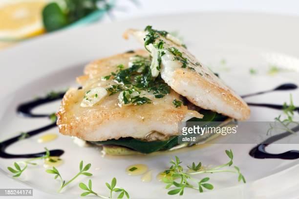 White fish on vegetable