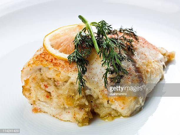 White fish stuffed with crab meat