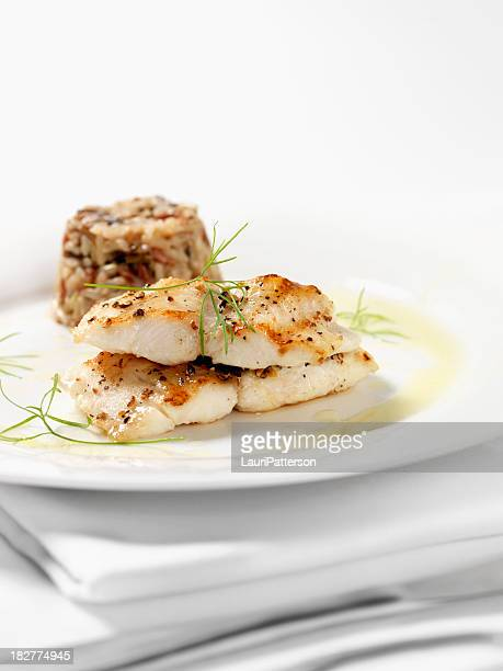 White Fish with Wild Rice & Garlic Butter Sauce