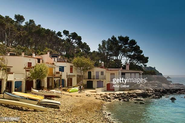 White fisherman's town in Costa Brava with beach.