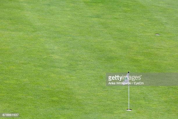 white flag on golf course - golf background stock photos and pictures