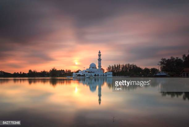 White floating mosque located at Kuala Terengganu