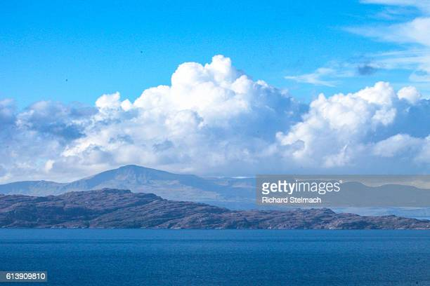 White Fluffy Clouds over Raasay and The Isle of Skye with Blue Sky and Loch
