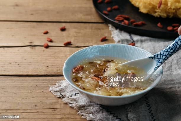 White fungus (Tremella fuciformis) and cooked with Goji berry