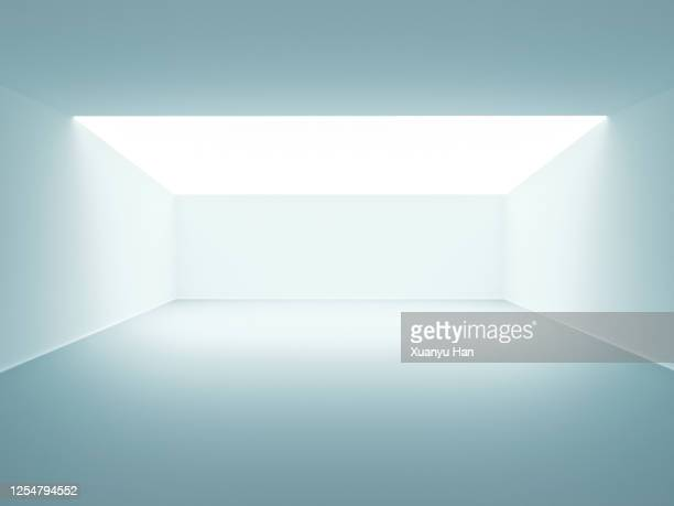 white futuristic empty room - leer stock-fotos und bilder