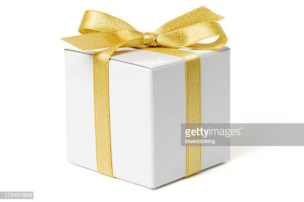 white gift box with gold bow - gift stock pictures, royalty-free photos & images