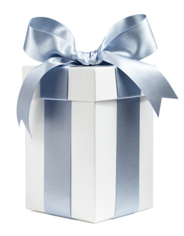 White Gift Wrapped in Silver Ribbon - gettyimageskorea