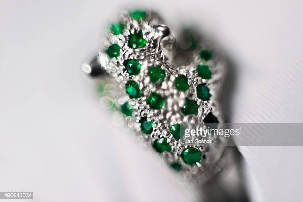 A white gold ring with fine emeralds is seen in a jewelry workshop in on February 08 2014 in Bogota Colombia Around 60% of the world's emerald...