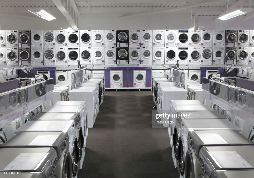 White goods in electrical shop : Stock Photo