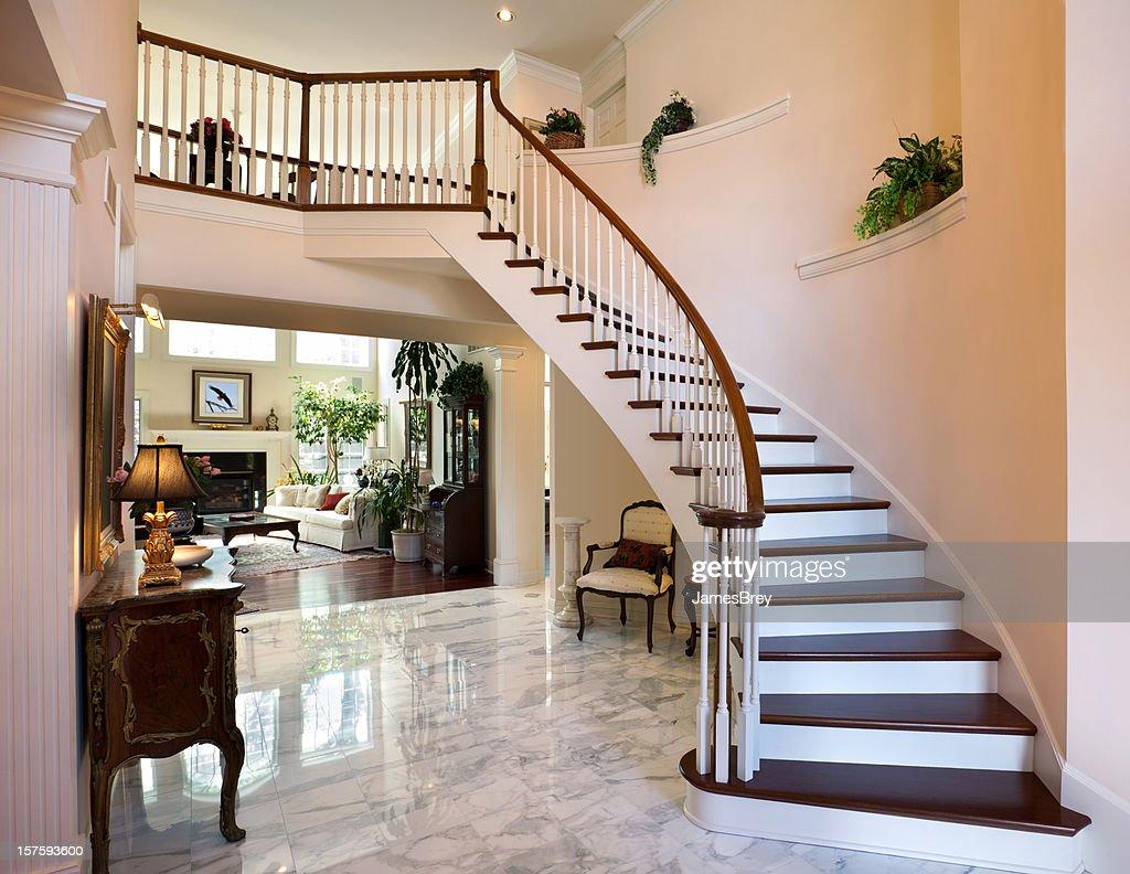 White Grand Foyer Staircase Marble Floor Showcase Home