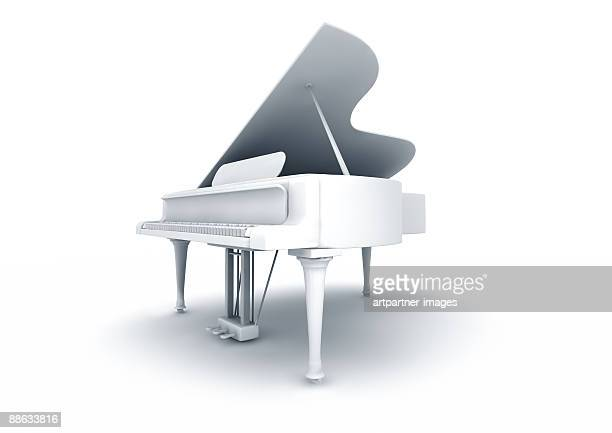white grand piano on white background - grand piano stock photos and pictures