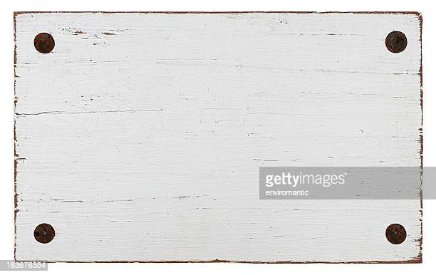 White grunge wood board with four bolts.
