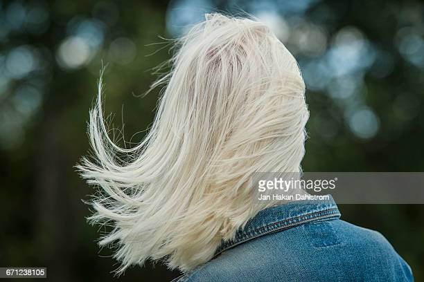 White hair blowing in the wind