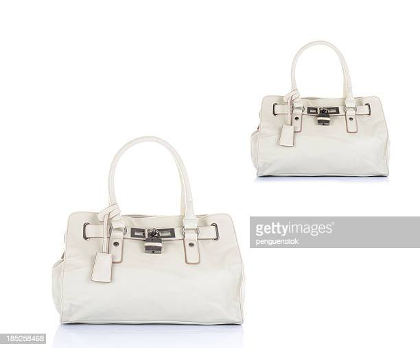 white handbags - white purse stock pictures, royalty-free photos & images