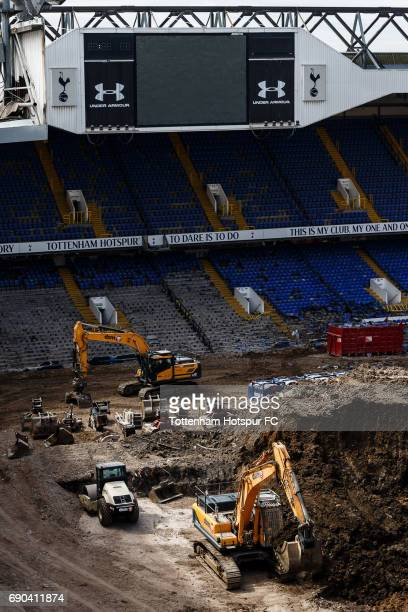 White Hart Lane the home of Tottenham Hotspur FC is demolished as work continues on the new White Hart Lane redevelopment on May 23 2017 in London...