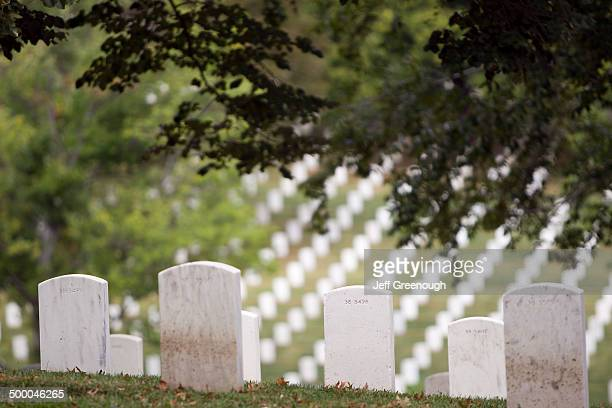 White headstones overlooking military cemetery, Arlington, Virginia, United States
