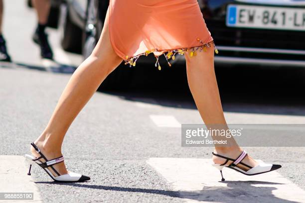 White heels shoes , outside Acne Studios, during Paris Fashion Week - Womenswear Fall Winter 2019, on July 1, 2018 in Paris, France.