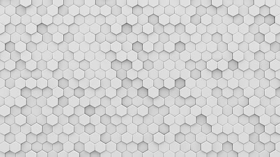 White hexagons mosaic 3D render 941875534