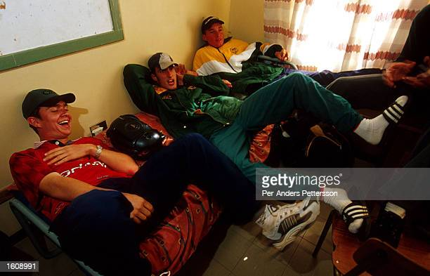 White high school students relax in their hostel near the school June 21 2001 in Vryburg South Africa These boys don''t like to mix with the black...