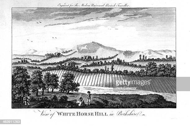 White Horse Hill Berkshire late 18th century View showing a preenclosure agricultural landscape with ridge and furrow ploughing