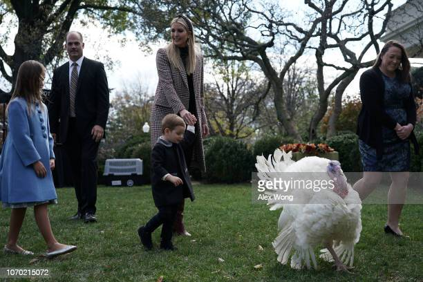 White House adviser and first daughter Ivanka Trump and her children Arabella Kushner and Theodore Kushner attend a turkey pardoning event as they...