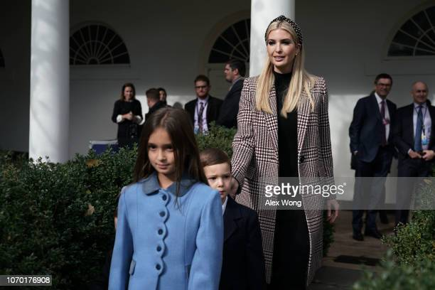 White House adviser and first daughter Ivanka Trump arrives with her children Arabella Kushner and Joseph Kushner at a turkey pardoning event at the...