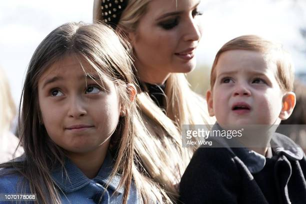 White House adviser and first daughter Ivanka Trump her children Arabella Kushner and Theodore Kushner attend a turkey pardoning event at the Rose...