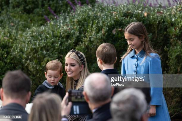 White House adviser and first daughter Ivanka Trump with her children Theodore Kushner Joseph Kushner and Arabella Kushner before US President Donald...