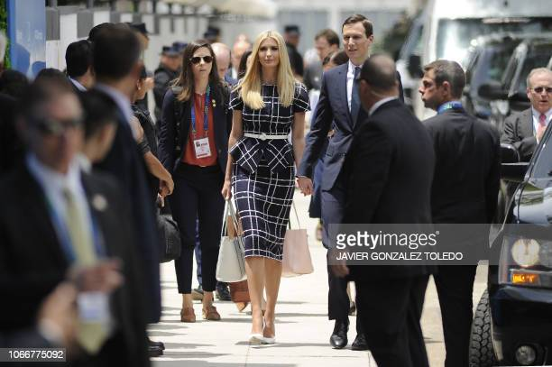 TOPSHOT White House adviser and US President Donald Trump's daughter Ivanka Trump and her husband Senior Advisor Jared Kushner arrive at Costa...