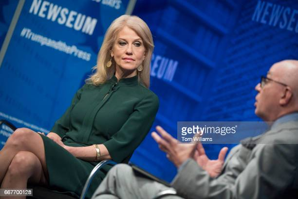 White House adviser Kellyanne Conway is interviewed by Michael Wolff during a discussion at the Newseum titled The President and the Press The First...