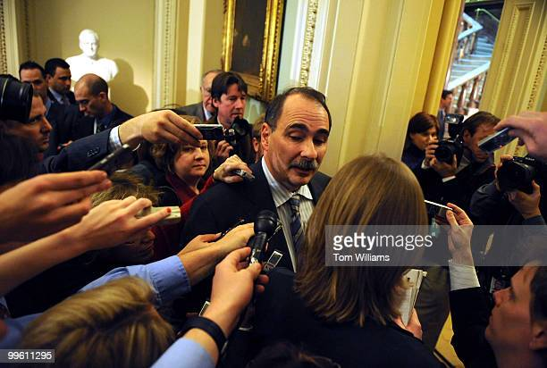 White House advisor David Axelrod speaks to reporters after attending the Democratic Senate luncheon February 3 2009