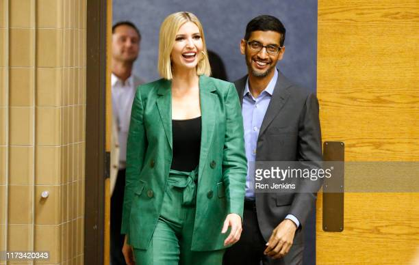 White House advisor Ivanka Trump and the CEO of Google Sundar Pichai arrive for a roundtable discussion focusing on assisting American workers for...