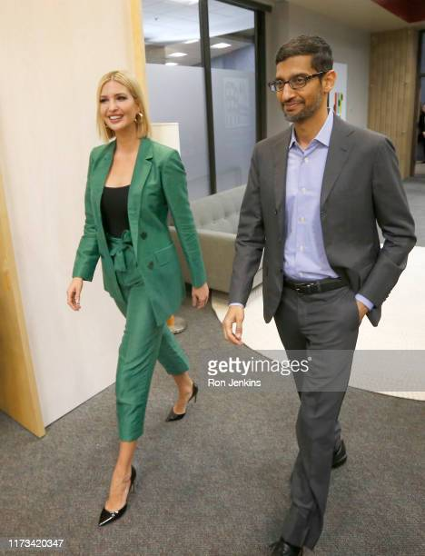 White House advisor Ivanka Trump and the CEO of Google, Sundar Pichai, arrive for a roundtable discussion focusing on assisting American workers for...