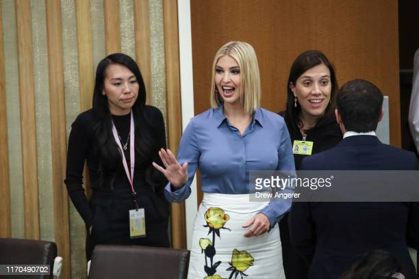 White House advisor Ivanka Trump arrives at a meeting on religious freedom at United Nations headquarters on September 23 2019 in New York City While...
