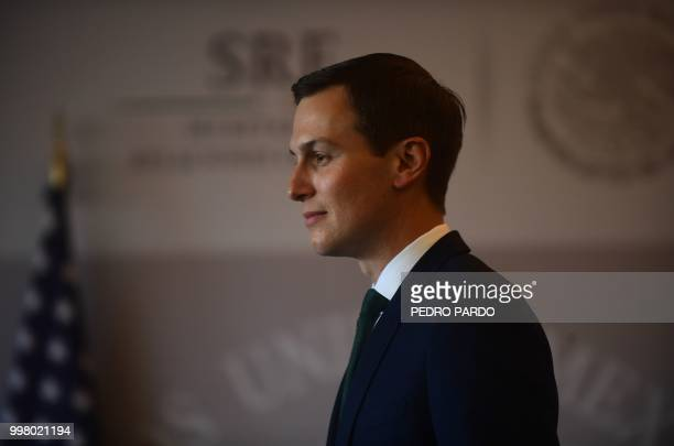 White House advisor Jared Kushner is pictured at the Foreign Ministry in Mexico City where he arrived to hold a meeting with Mexico's Foreign...