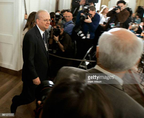White House advisor Karl Rove walks into the East Room before a ceremony at the White House November 9 2005 in Washington DC Bush presented 14 Medals...