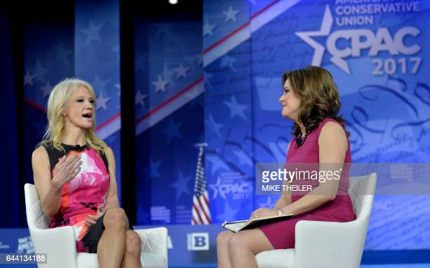 White House advisor Kellyanne Conway speaks with CubanAmerican political commentator Mercedes Schlapp during the Conservative Political Action...